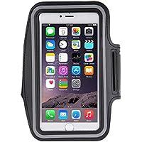 """TechExpert Brassard sport tour de bras noir pour iphone 6 Plus - 5.3"""" idéal pour les sportifs, course à pied ou salle de sport avec trous pour écouteurs, bande réflechissante et pochette pour clé."""