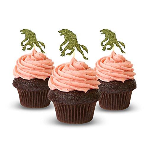 Wolf Halloween Cupcake Topper 12 Stück pro Packung Dekoration Kuchen Glitzer Karte Stock Gold