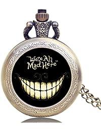 Orologio da tasca vintage in bronzo, collana Alice nel paese delle meraviglie, orologio da tasca al quarzo, per uomo e donna, idea regalo