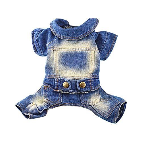 Keysui Hunde Kostüme Sommer Hundebekleidung Jeans für Hunde Teddy Kleidung Pet (Kostüme Tuxedo Blau Tshirt)