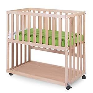 Lit cododo Childwood avec barreaux amovibles, lit bébé adapté aux enfants de 0 à 9 mois, lit bébé sûr et confortable, design en hêtre naturel, norme de qualité UE