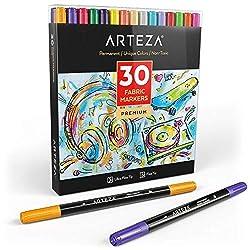 Arteza Textilstifte, 30 verschiedene Textilmalstifte, Textilmarker mit Doppelspitze, permanente und maschinenwaschbare Tinte, zur Färbung von Jeans, T-Shirts, Turnschuhen, Rucksäcken, Jacken