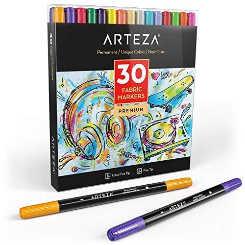 ARTEZA Rotuladores tela | Juego 30 colores | Marcadores