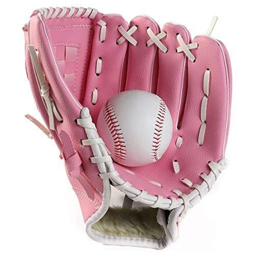 FamyFirst Baseballhandschuh, Unisex, Softball-Handschuhe, Baseball-Handschuhe, dick, für Erwachsene, Kinder, Rosa, S -