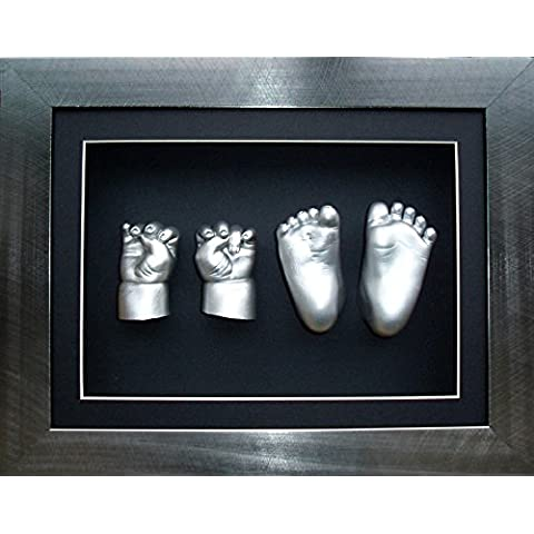 Large Baby Casting Kit with 29cm x 22cm brushed Pewter 3D Box Display Frame / Silver Metallic Paint by
