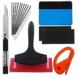 EEFUN 7 in 1 Kit de herramientas de instalación 4 en 1 para ventanas de automóviles Envoltura de vinilo de tinte con cuchilla de utilidad, cortador Snitty de seguridad, rascador de PP, goma de caucho de silicona
