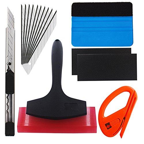 Preisvergleich Produktbild EEFUN 7 in 1 High-End-Werkzeugset für Autofolie / Tönungsfolie / Sonnenschutzfolie Installation mit Faserrand Rakel, Snitty Cutter, Utility Messer, Gummi Rakel.