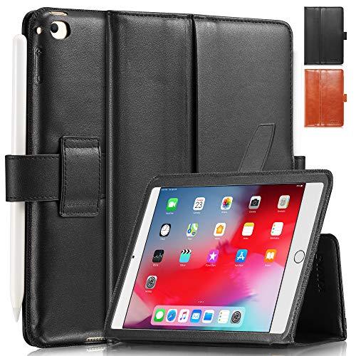 KAVAJ Lederhülle London geeignet für Apple iPad Mini 5 (2019) und 4 Hülle Echtleder Case Schwarz aus echtem Leder mit Stand & Auto Schlaf/Aufwachen Funktion. Dünnes Smart-Cover Schutzhülle