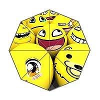 EnnE Smiley emoji Umbrella Rain Windproof Compact Folding Travel Umbrella UV Protection