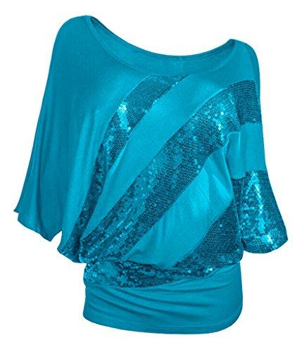 Smile YKK Glänzende Paillette Deko Loose Fit Rundhals Damen T-shirts Casual Shirts Shirts Oberteil Tunika Top Tank Kurzarm Hellblau