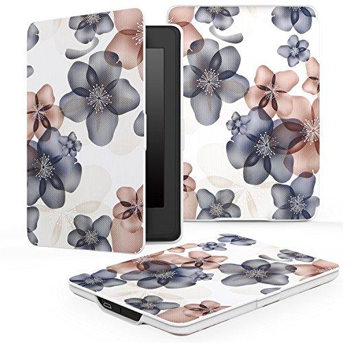 MoKo Kindle Paperwhite Hülle - Ultra Leightweight Schutzhülle Smart Cover mit auto Sleep / Wake Funktion für Alle Kindle Paperwhite (2016 / 2015 / 2013 / 2012 Modelle mit 6 Zoll Display), Blumen Marineblau