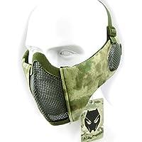 Mascarilla protectora de malla inferior de nailon con cubierta para la oreja de Worldshopping4U, Tactical Airsoft CS, AT-FG