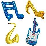TOYANDONA 6 UNIDS Nota Musical de Aluminio Globos Globos de Guitarra Saxofón Fiesta de Cumpleaños Fiesta