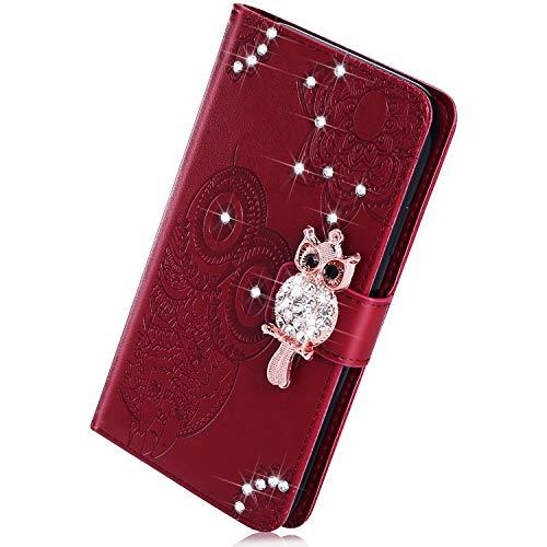 Kompatibel mit Huawei Mate 20 Lite Handyhülle, Herbests Handytasche Flip Case Schutzhülle Kristall Strass Glitzer Diamant Bling Eule Mandala Blumen Ledertasche Lederhülle Klapphülle,Braun