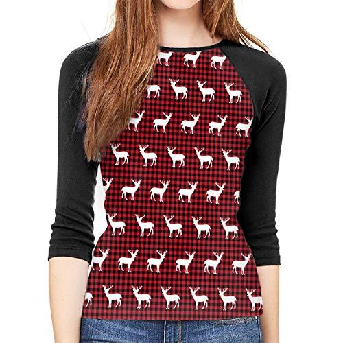 Henrnt Damen Bluse 3/4 Arm T-Shirt Bluse Top Buffalo Plaid Deer Print T-Shirt Casual Crew Neck Tops Tee