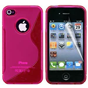 Gadgeo Hot Pink Gel Silicone TPU Case Cover for Apple iPhone 4 & 4S with Screen Protector and Cleaning Cloth