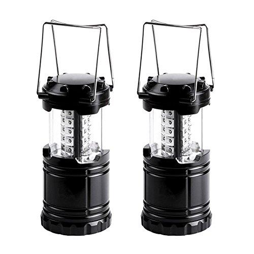VERTEE Lanterne Exterieur Portable Pliable 30 LED Super Bright Lampe Phare Camping Randonnée Situations d'urgence Ouragans Pêche Chasse Maison Jardin Noir Kit de 2