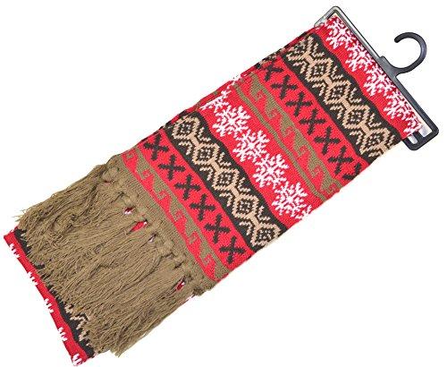 Norweger Strickschal Variante: rot, weiß, braun; frauen schal kariert fransenschal damen frauenschal norweger-muster herren-schal fransenschal warmer schal Herren strickschal strickschal schwarz