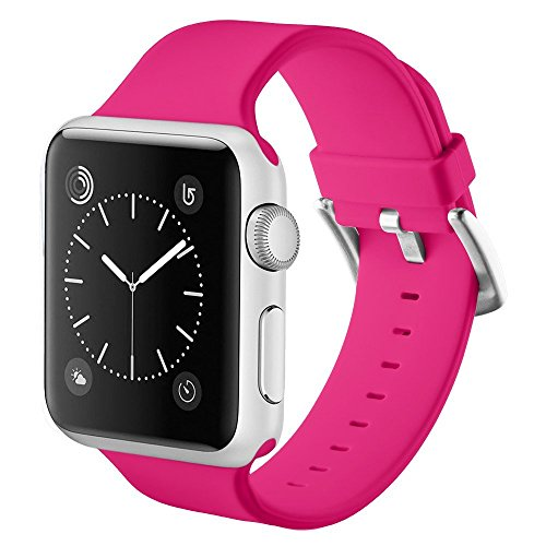 Noya Apple Watch Correa Serie 1 Serie 2 Serie 3, Suave Reemplazo de Silicona Sport Banda Correa de Muñeca con Hebilla para iWatch Band Correa de Sport M/L (38mm, Rosa)