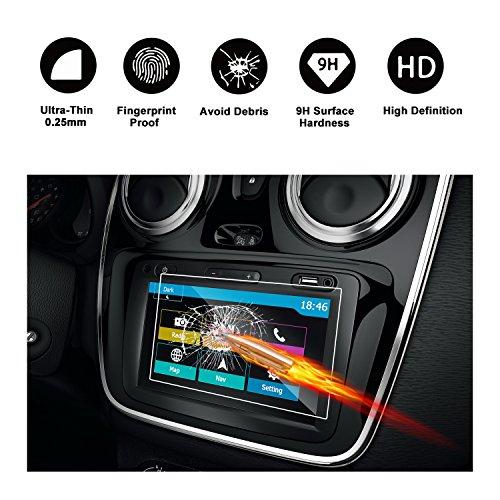 RUIYA Gehärtetes Glas Ultra-klar Displayschutz für das Navigationssystem von Dacia Dokker/Dokker Stepway/Duster II/Lodgy/Lodgy Stepway/Logan MCV II/Sandero II/Sandero RS/SUV [7 Zoll]