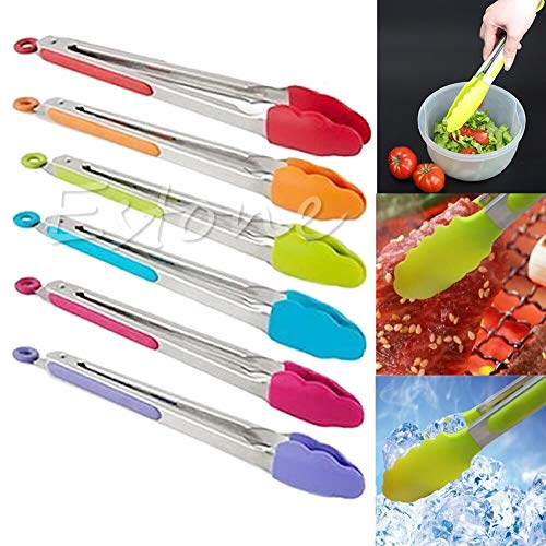 Salad Serving - Silicone Cooking Salad Serving Bbq Tongs Stainless Steel Handle Utensil Random Color - Plates Utensils Hands Glass Cups Bamboo Platters Large Metal Dish Utensil Tray Stainless Wo Handle-server