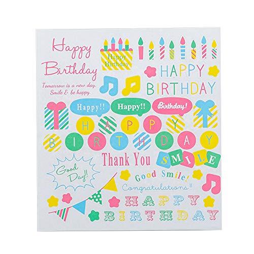 ve Aufkleber Glitzer Sticker für Kinder Mädchen Scrapbooking Aufkleber Selbstklebende DIY Tagebuch Album Deco Stickers - Happy Birthday ()