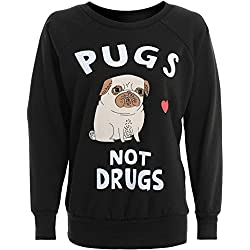 Sudadera color azul con carlino y texto pugs not drugs
