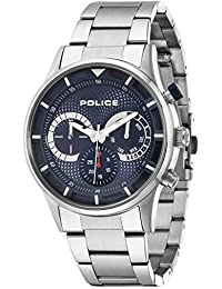 amazon co uk police watches police men s quartz watch blue dial chronograph display and silver stainless steel bracelet 14383js 03m