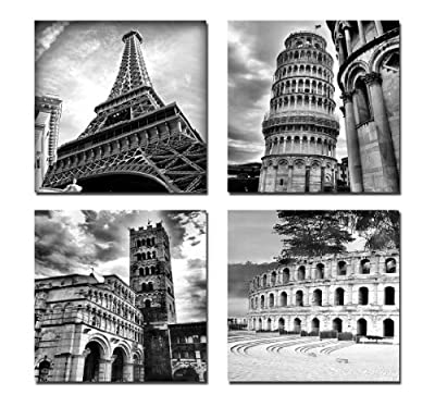 Wieco Art - Architecture Modern Landscape Giclee Canvas Prints Pictures Sensations to Photo Paintings on Stretched and Framed Canvas Wall Art Ready to Hang for Home Decoration Wall Decor