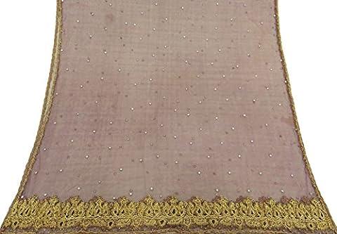 Jahrgang indische Dupatta lange Stola Net lila Hand-wulstige Wrap Gebrauchte Hijab-Schleier