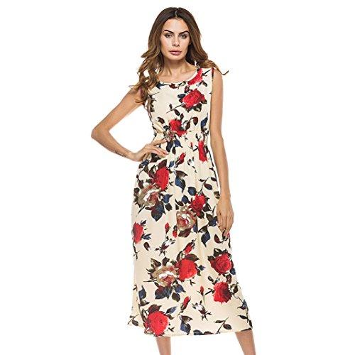 KanLin Damen Böhmen Blumendruck Strand Partei beiläufiges langes Kleid Multicolor B