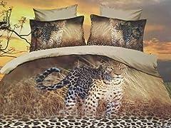 Idea Regalo - CUSHIONMANIA Effetto 3D 125gsm Heavy Weight Set Lenzuola Matrimoniale Kingsize (Double, Leopardo)