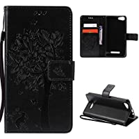 CaseFirst Wiko Lenny 2 Wallet Leather Case with Protective Durable PU Leather Shell Folio flip Cell Phone Cover Bag with Card Slots,Cash Pocket,Black