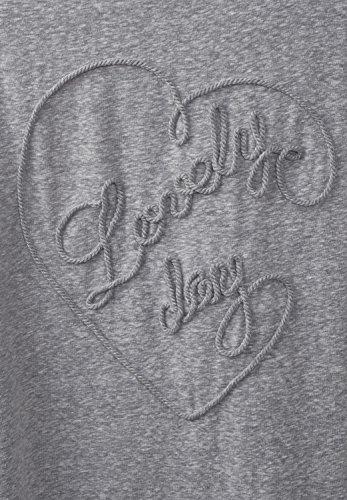 CECIL Damen Melange Herz Shirt mineral grey melange (grau)