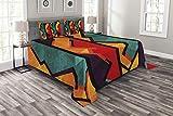 Abakuhaus Modern Tagesdecke Set, Geometrische Modernes Design, Set mit Kissenbezügen luftdurchlässig, für Doppelbetten 264 x 220 cm, Ringelblume Orange Teal