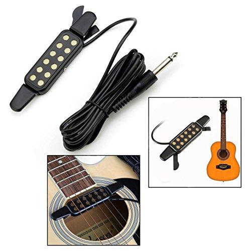OFKPO Gitarre Tonabnehmer Pickup,12 Loch Tonabnehmer mit 3 Meter Kabel für Akustik Gitarre