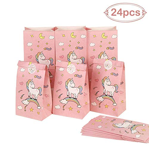(Aparty4u 24 Stück Einhorn Papier Geschenktüten mit Danke Aufkleber, Einhorn Geburtstag Party Taschen für Kinder Baby Shower Einhorn Party Supplies (Rosa, 12 x 22 x 8 cm))
