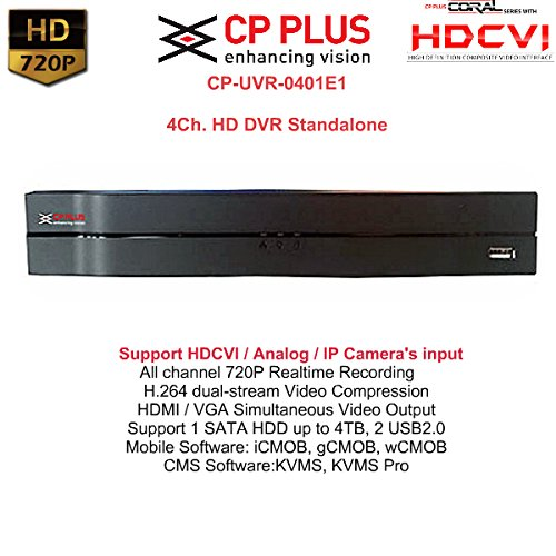 CPPLUS 4 HD CCTV Cameras (1MP) and 4Ch. HD DVR Kit with all Accessories (without Hard Disk)