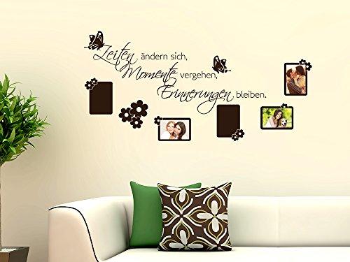 GRAZDesign 160003_57_070 Wandtattoo Wand-Spruch Zeiten | Fotowand Selbst Gestalten | über Familie Momente (118x57cm//070 Schwarz)