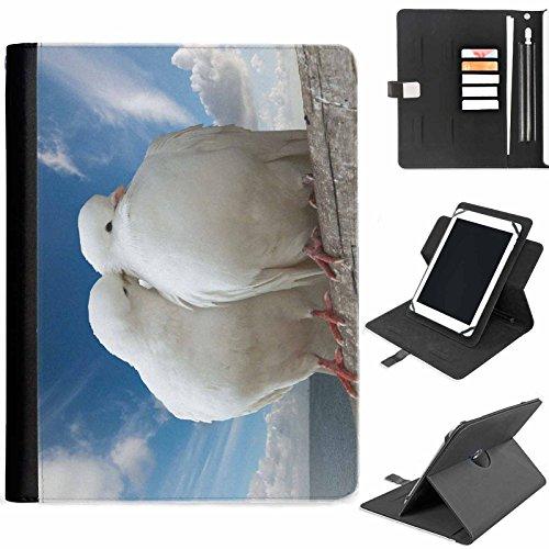 Hairyworm - Zwei weiße Tauben Samsung Ativ Tab P8510 (GT-P8510) Leder Klapphüllen Etui 360° Schwenkgehäuse, Schutzfolie mit Apple Bleistift / Stift / Stifthalter, Kartenfächern, Papierschlitz, Metallschnalle, Standfunktion