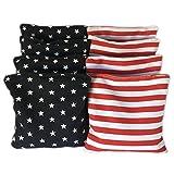 American estrellas y rayas Cornhole bolsas (Juego de 8)-tamaño oficial y peso diseño de la bandera de Estados Unidos, rojo y blanco y azul-incluye bolsa de regalo