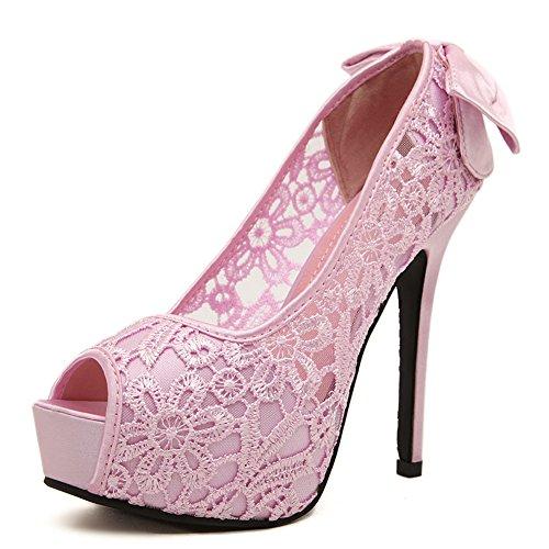 Aisun Damen Schleifen Satin Spitze Peep Toe Plateau Stiletto Pumps Pink 37 EU ZE54UM