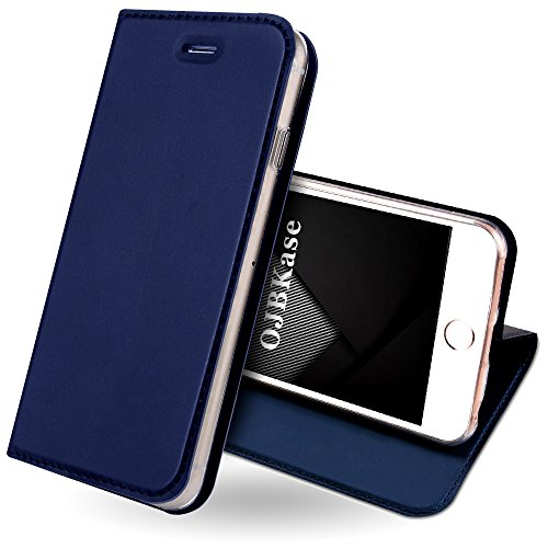 OJBKase iPhone 5/5S/SE Hülle, Premium Slim PU Leder Handy Schutzhülle [Standfunktion] Hülle/Cover/Brieftasche/Ledertasche Tasche Lederhülle Handyhülle für Apple iPhone 5/iPhone 5S/iPhone SE(Blau)