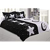 Kuber Industries The Moon And Star Design 180 TC Satin Double Bedsheet With 2 Pillow Covers - King Size, Black And White