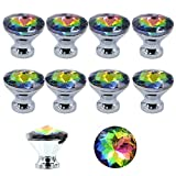 MyArmor 10pcs Colorful Gorgeous Crystal Glass Knob Drawer Pulls Handle 30mm for Door Wardrobe, Cupboard, Kitchen and Bathroom Cabinets, Shutters, etc