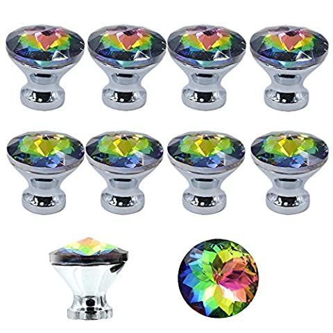 MyArmor 10pcs Colorful Gorgeous Crystal Glass Knob Drawer Pulls Handle