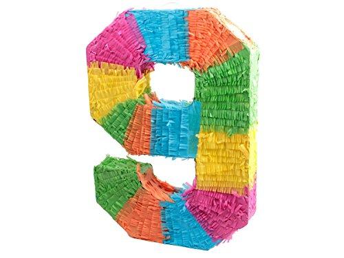 Alsino Pinata   en Forme du Chiffre 9   en Papier Mâché   Multicolore   Décoration   Jeu   Anniversaire, 62/0969 Pinata-Chiffre 9