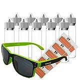 TORG TRADING 10 x 50ml Liquidflasche aus PET mit 10 Etiketten und Trendiger Sonnenbrille, Unisex, Plastikflasche für E-Liquids. Dosierflaschen, Tropfflaschen, Quetschflaschen