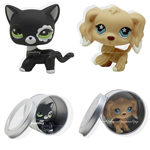 2pcs #2249 #748 Littlest Pet Shop Cocker Spaniel Puppy Dog black cat LPS Rare