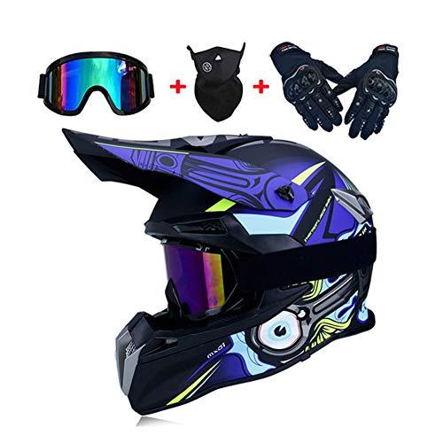 LEENY Motocross-Helm - Herren Motorrad Off-Road-Helm mit Brille Maske Handschuhe, Cross-Helm Motorrad-Fahren Full-Face DH Enduro ATV Motorräder Quad Motorrad-Helm für Männer Damens, Blau,L - Kinder Blau Helm Atv